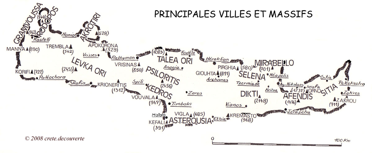 Carte Topographique Crete.Carte De Crete Villes Et Massifs